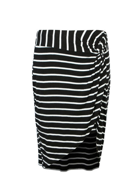 Ladies' Stripe Knot Front Skirt, BLK/WHT, hi-res