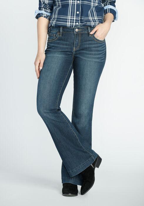 Ladies' Flare Medium Dark Jeans, MEDIUM VINTAGE WASH, hi-res