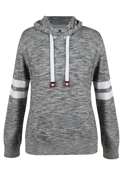 Ladies' Plus Size Love Football Hoodie, MARLED CHARCOAL, hi-res