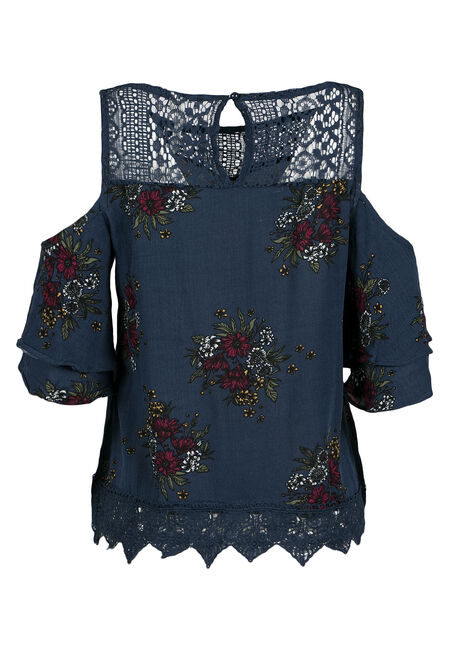 Ladies' Floral Cold Shoulder Top, NAVY, hi-res