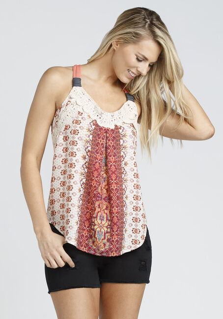 Ladies' Floral Print Tank, TOUCAN, hi-res