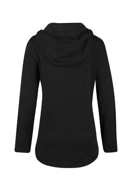 Ladies' Space Dye Popover Hoodie, BLACK, hi-res
