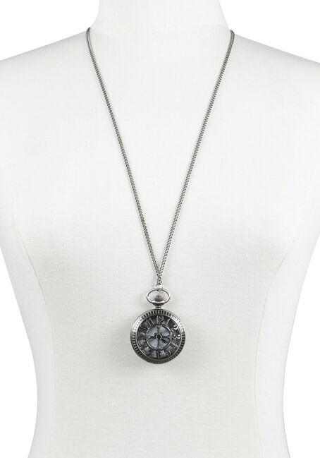 Ladies' Pocket Watch Necklace, RHODIUM, hi-res
