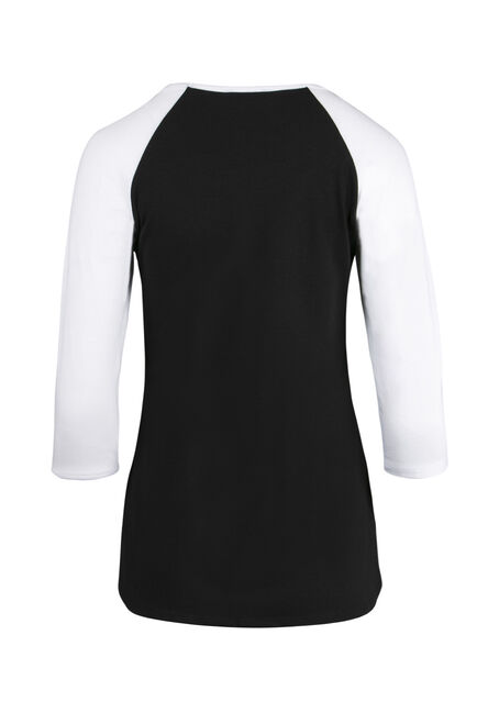 Ladies' Whiskey Motorcycle Baseball Tee, BLACK/WHITE, hi-res