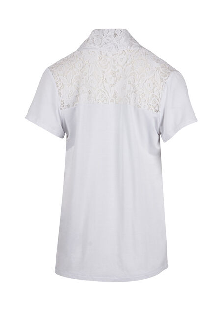Ladies' Lace Yoke Cardigan, WHITE, hi-res
