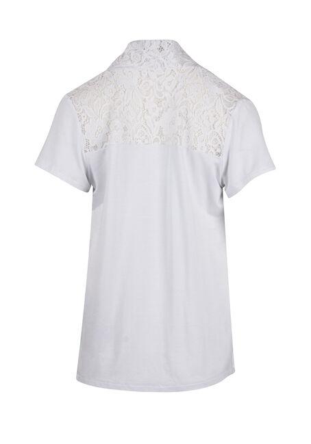 Ladies' Lace Yoke Cardigan, WHITE, hi-res