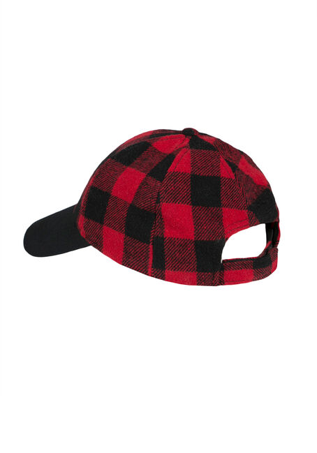 Ladies' Plaid Baseball Hat, RED, hi-res