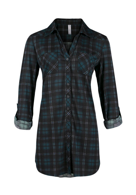 Ladies' Knit Plaid Tunic Shirt, JASPER, hi-res