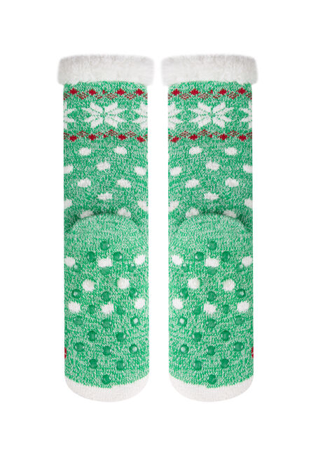 Ladies' Snowman Slipper Socks, GREEN, hi-res
