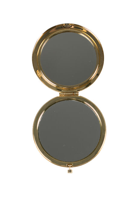 Ladies' Jewelled Compact Mirror, BLACK, hi-res