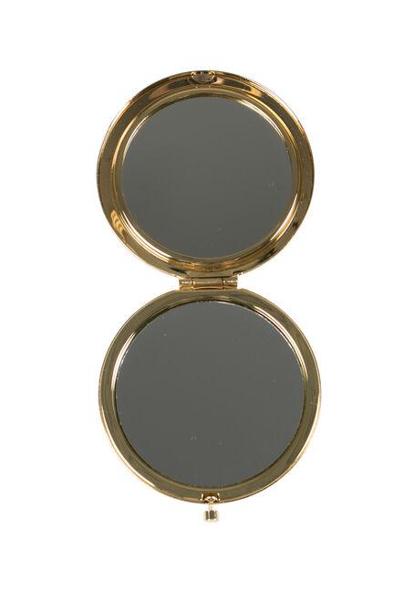 Ladies' Jewelled Compact Mirror, BLACK, hi-res
