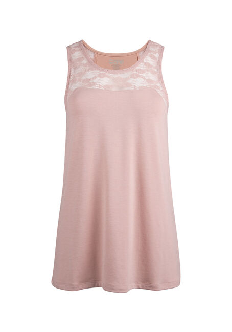 Ladies' Lace Yoke Tank, PEACH, hi-res