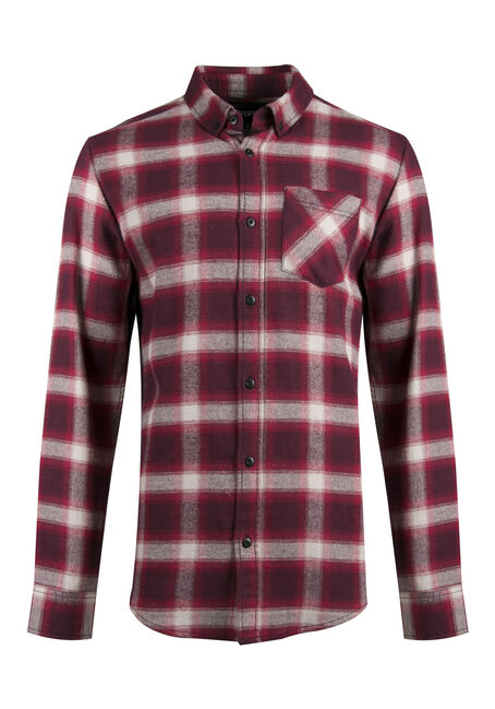 Men's Flannel Plaid Shirt, RUST, hi-res