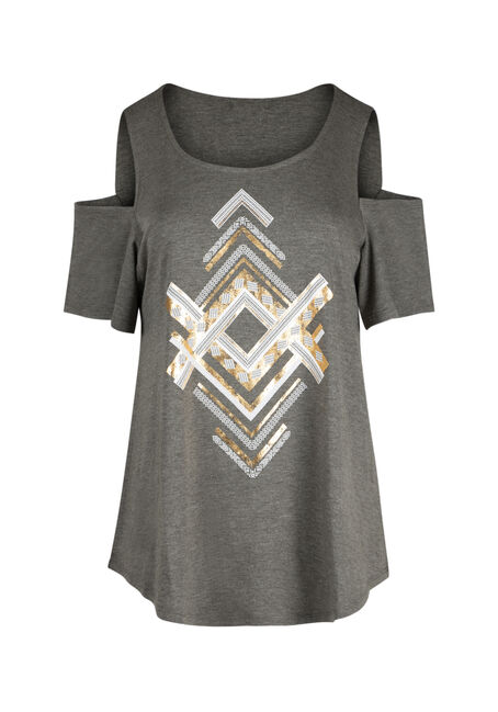 Ladies' Chevron Cold Shoulder Tee