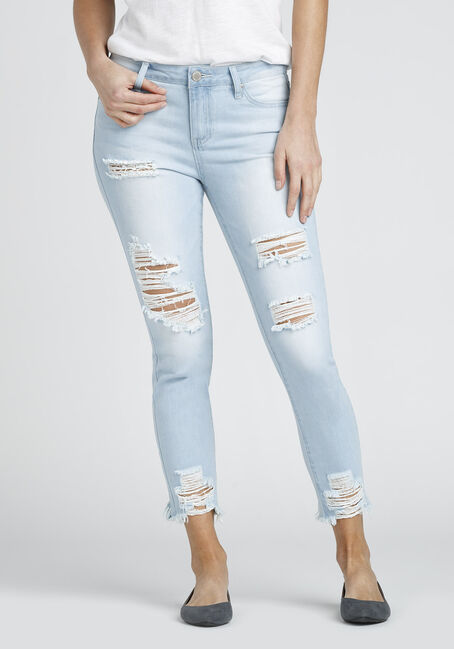 Ladies' Destructed Ankle Jean