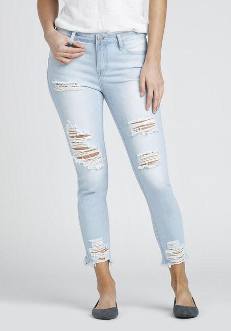 Ladies' Destructed Ankle Jean