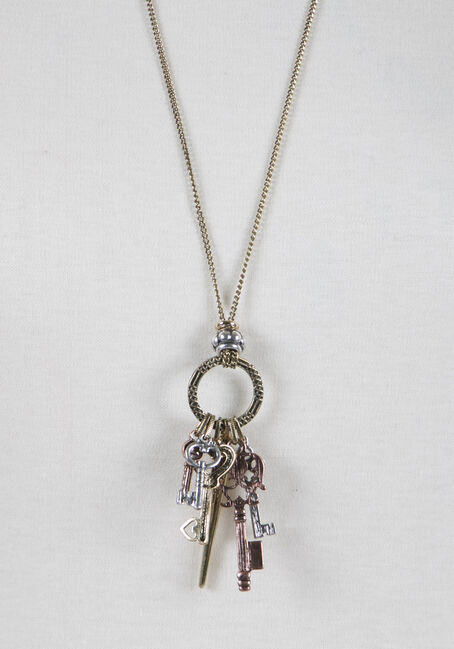 Ladies' Key Charm Necklace, GOLD, hi-res