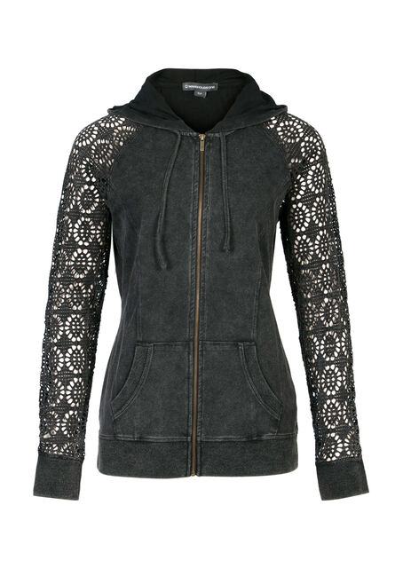 Ladies' Cut Out Sleeve Hoodie, BLACK, hi-res