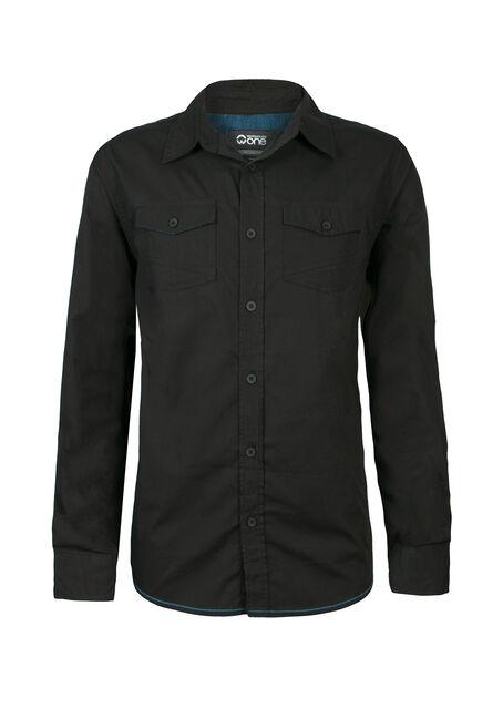 Men's Solid Poplin Shirt, BLACK, hi-res