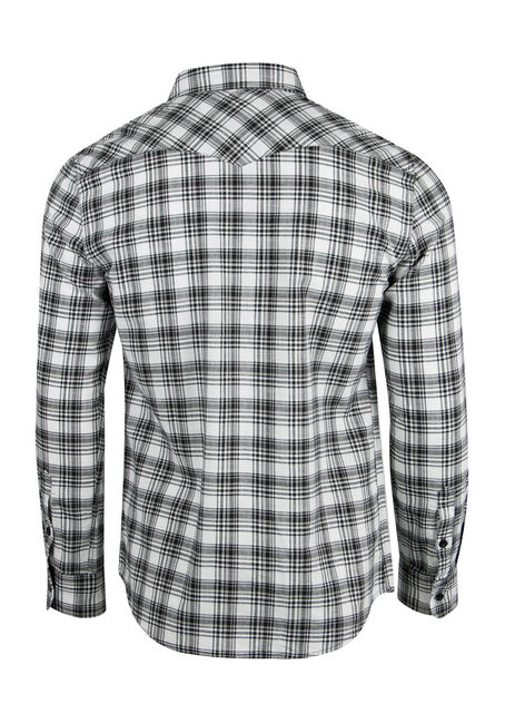 Men's Plaid Shirt, BLK/WHT, hi-res