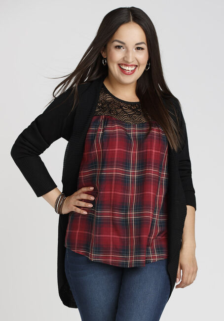 Ladies' Plaid Lace Tank, DK RED, hi-res