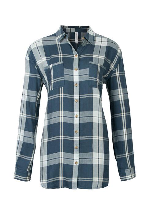 Ladies' Boyfriend Fit Plaid Shirt, COASTAL BLUE, hi-res