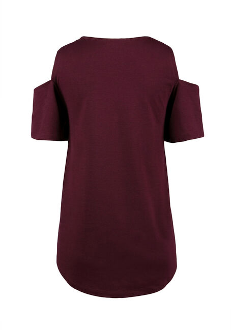 Ladies' Feather Cold Shoulder Top, WINE, hi-res
