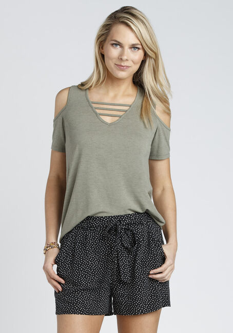 Ladies' Cage Neck Cold Shoulder Tee, SD IVY, hi-res