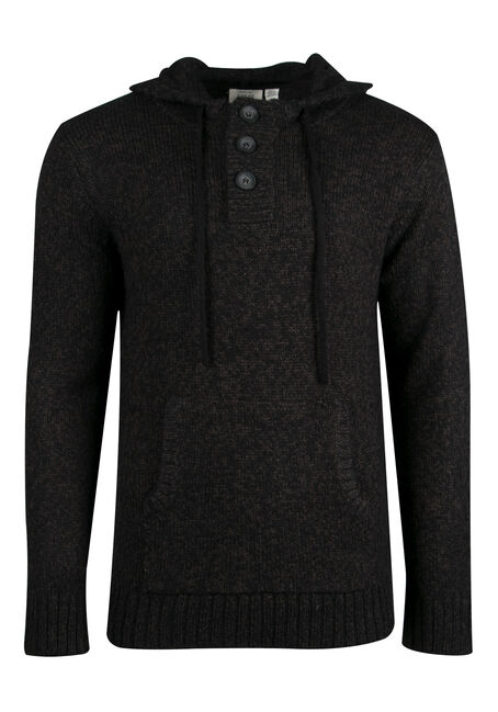 Men's Hooded Henley Sweater, BLACK, hi-res