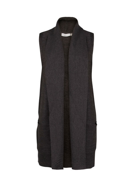 Ladies' Sleeveless Open Cardigan, CHARCOAL, hi-res