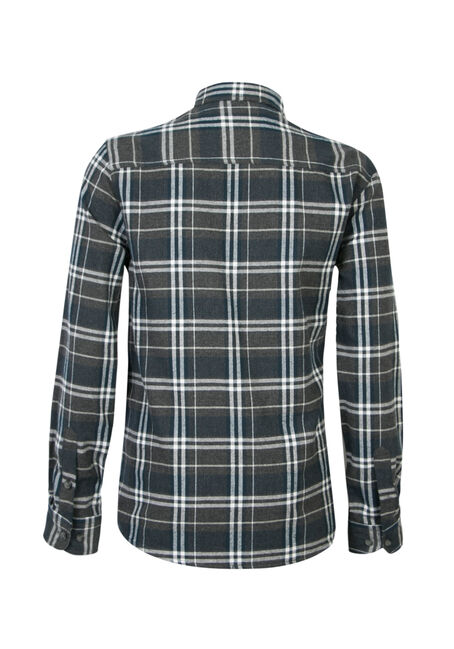 Men's Brushed Flannel Shirt, CHARCOAL, hi-res