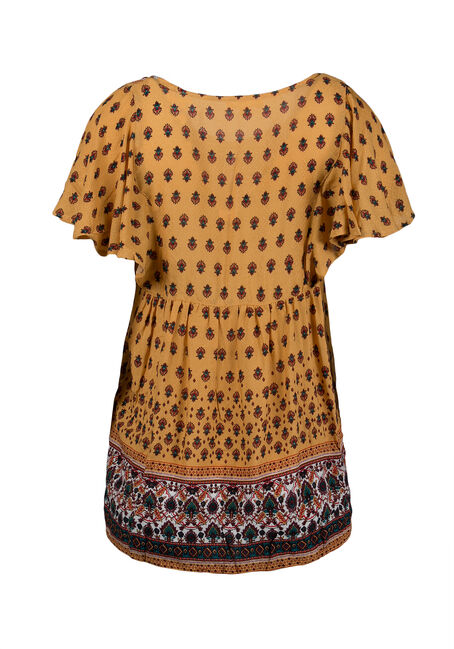 Ladies' Twin Print Peasant Top, MUSTARD, hi-res