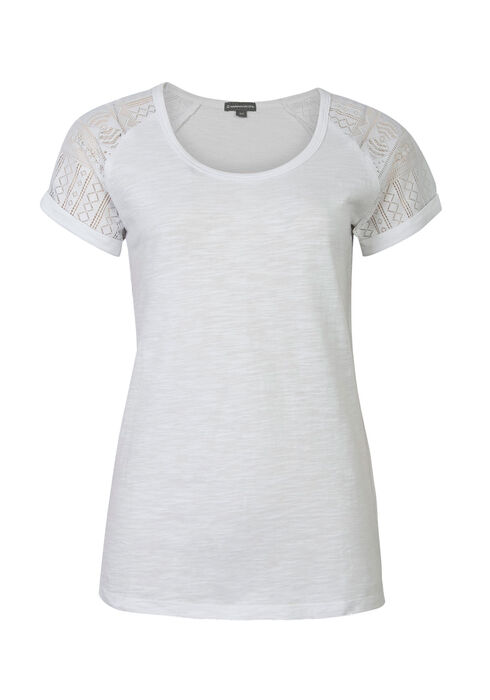 Ladies' Crochet Sleeve Tee, WHITE, hi-res