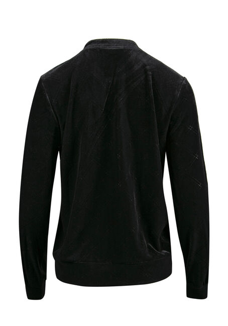 Ladies' Velvet Bomber Jacket, BLACK, hi-res