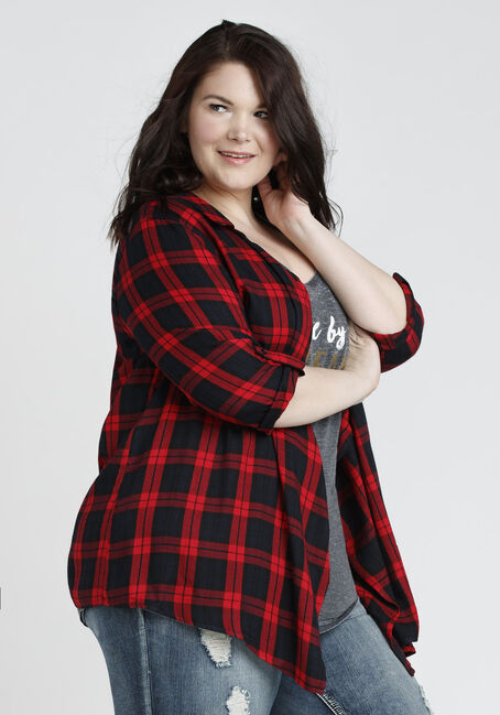 Ladies' Buffalo Plaid Cardigan, RED, hi-res