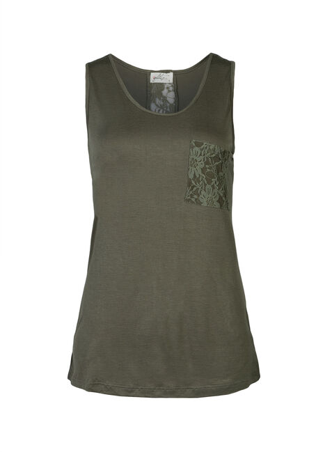 Ladies' Plus Size Lace Insert Tank, OLIVE GREEN, hi-res