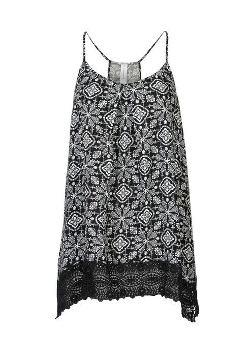 Ladies' Tile Print Crochet Hem Tank, BLK/WHT, hi-res