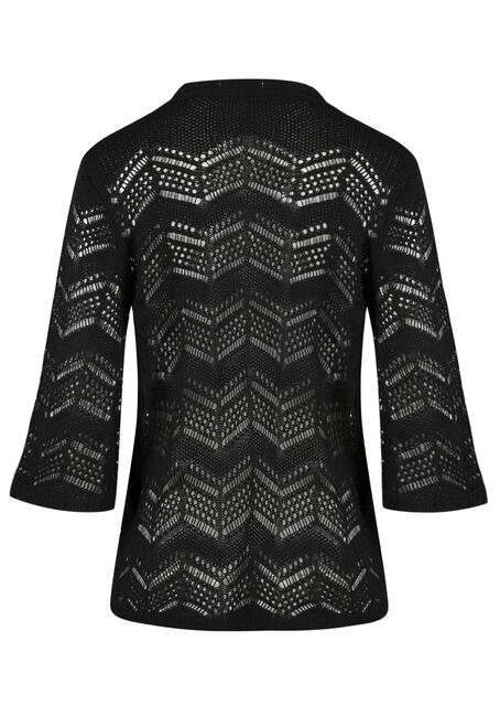 Ladies' Bell Sleeve Pointelle Cardigan, BLACK, hi-res