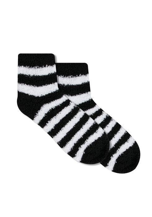 Ladies' Plush Socks, BLK/WHT, hi-res
