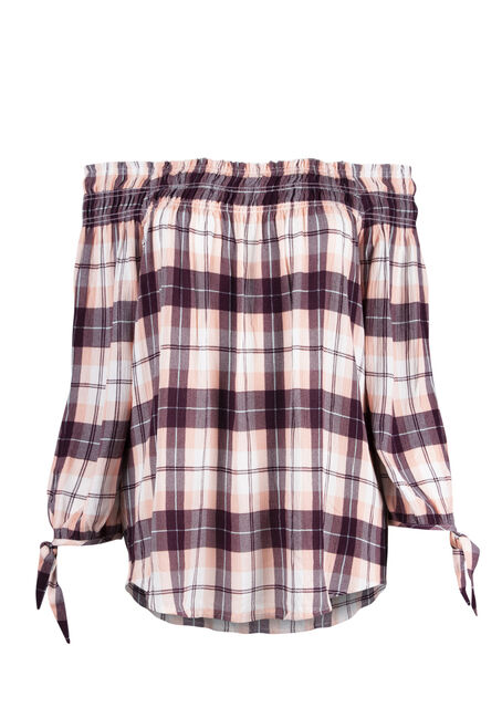Ladies' Plaid Bardot Top
