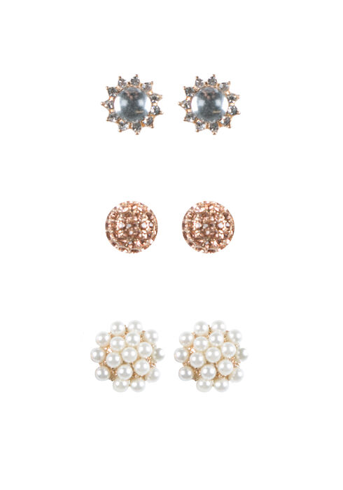 Ladies' Trio Earring Set, GOLD, hi-res