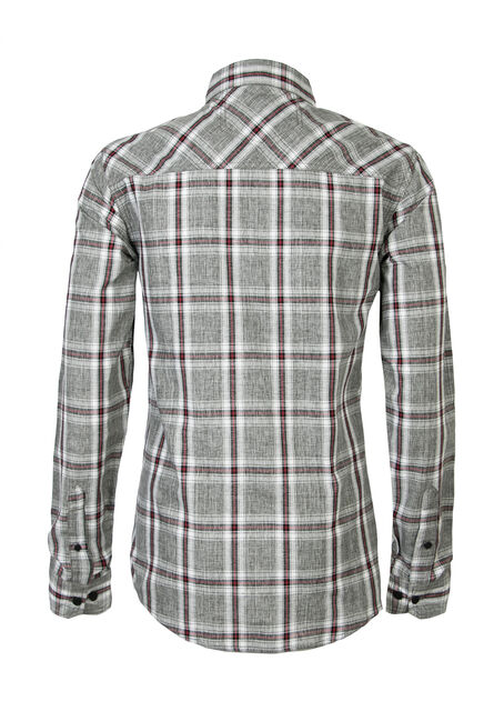 Men's Plaid Chambray Shirt, CHARCOAL, hi-res