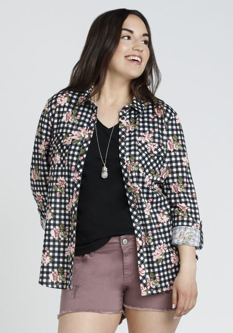 Ladies' Relaxed Fit Knit Floral Shirt, BLK/WHT, hi-res