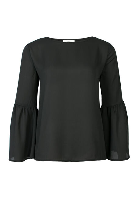 Ladies' Bell Sleeve Top, BLACK, hi-res
