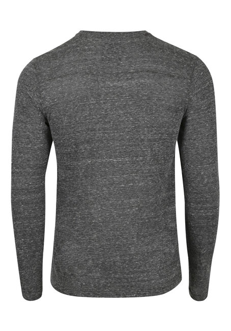 Men's Henley Tee, BLACK, hi-res