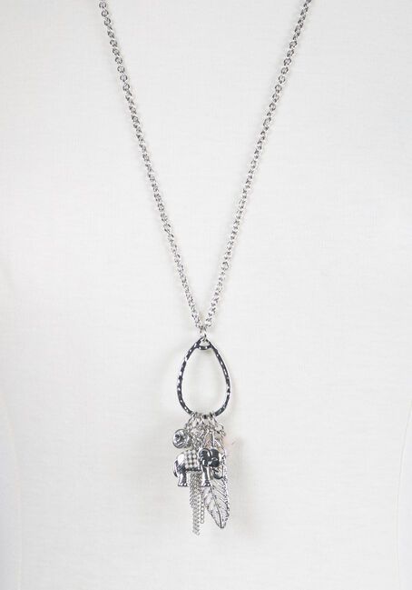Ladies' Multi Charm Necklace, SILVER, hi-res