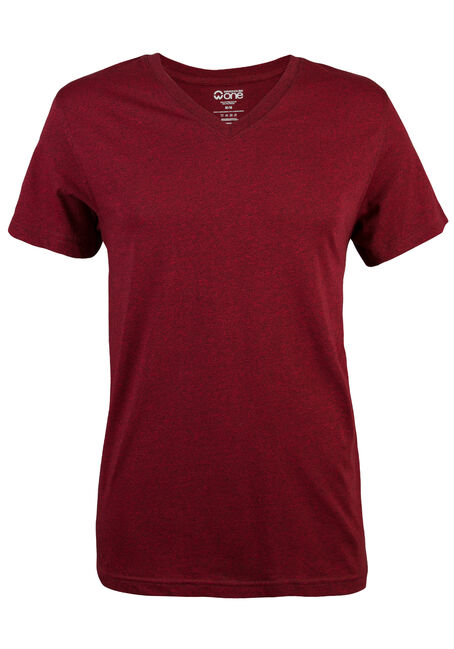 Men's V-neck Flecked Tee, RED, hi-res