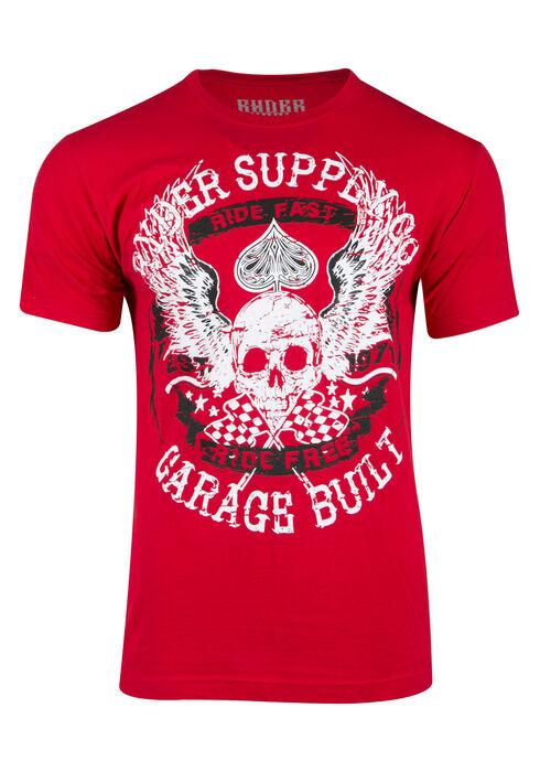 Men's Skull Spade Tee, RED, hi-res
