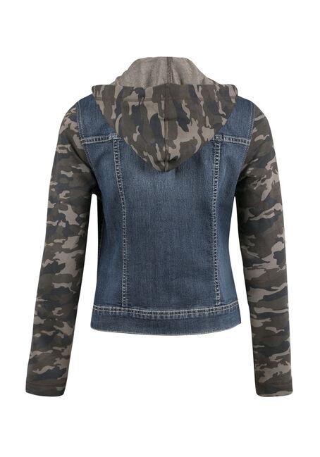 Ladies' Knit Sleeve Jean Jacket, MEDIUM VINTAGE WASH, hi-res