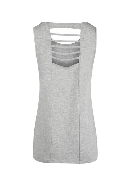 Ladies' Shell Yeah Ladder Back Tank, HEATHER GREY, hi-res